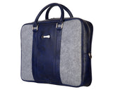 Laptop Bag - Polyester Felt with Faux Leather Trims - Blue and Grey  Laptop Bag Artilea