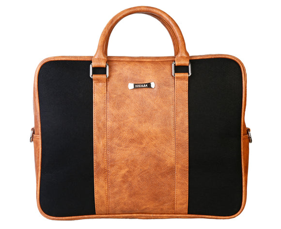 Laptop Bag - Polyester Felt with Faux Leather Trims - Black and Brown Black and Brown Laptop Bag Artilea