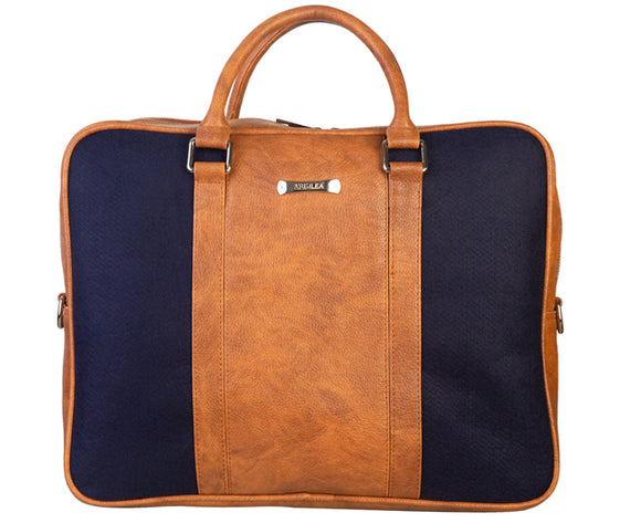 Laptop Bag - Polyester Felt with Faux Leather Trims - Blue and Brown Blue and Brown Laptop Bag Artilea