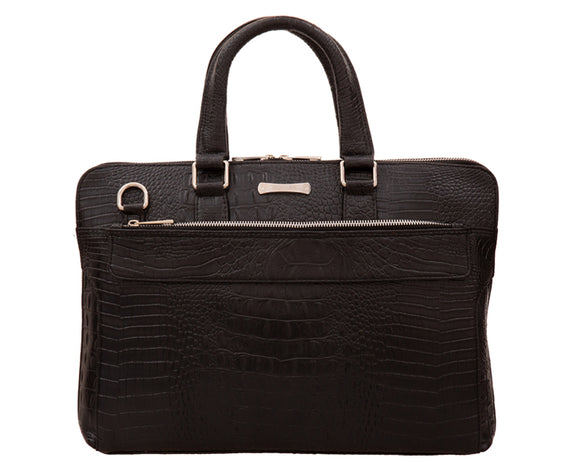 Laptop Bag - SA9052CRBL - Black Faux Crocodile Leather