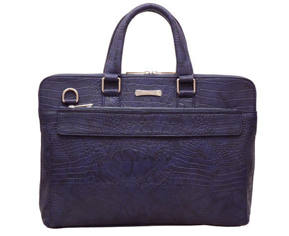 Laptop Bag Blue Faux Crocodile Leather