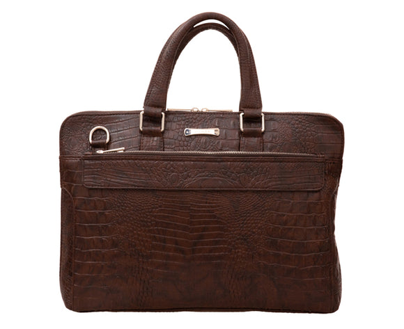 Laptop Bag - Dark Brown Faux Crocodile Leather