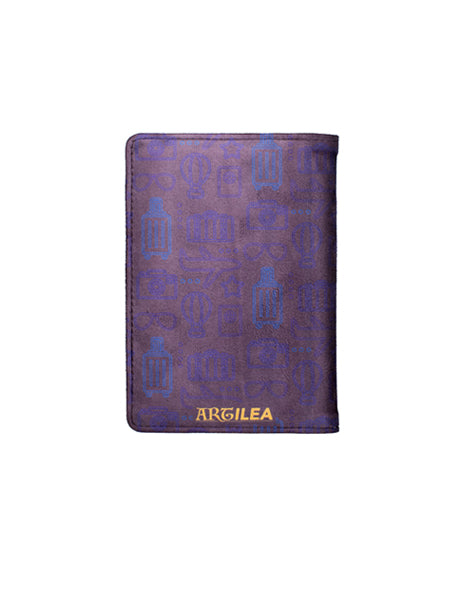 Travel Print Navy Blue - Personalized Passport Cover - Suede - Artilea Passport Cover