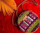 Sling Bag Ikkat Multi colour side bag Artilea PU leatherite handloom hand woven