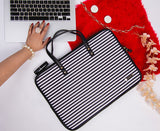 Artilea Laptop Sleeve - Polyester Felt - Black & White Stripes Print