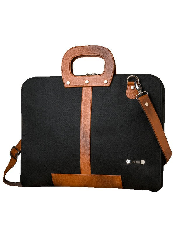 Laptop Bag - Polyester Felt and Art Leather - Single Black Laptop Bag Artilea