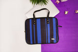 Artilea Laptop Sleeve - Polyester Felt - Black & Blue Stripes Print