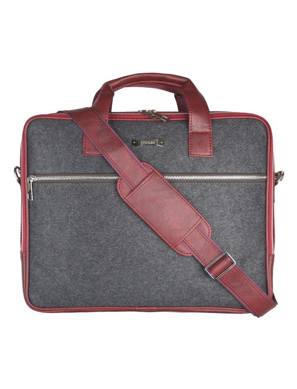 Laptop Bag - SA9026PFSRB - Black & Maroon Strap  Laptop Bag Artilea
