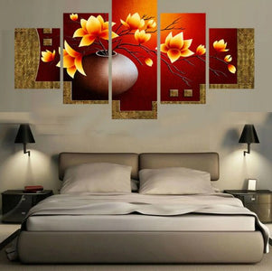 Flower Outburst-5 Panel-Canvas Bros
