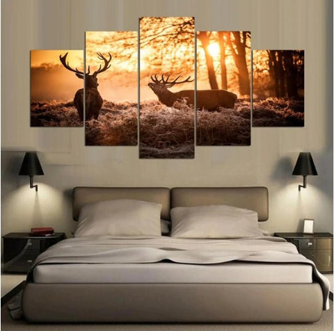 Image of Elk Sunset-5 Panel-Canvas Bros