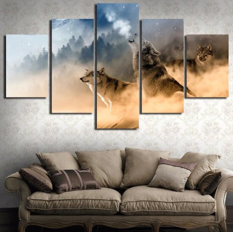 Image of Howling Wolves-5 Panel-Canvas Bros