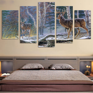 Winter Deer-5 Panel-Canvas Bros