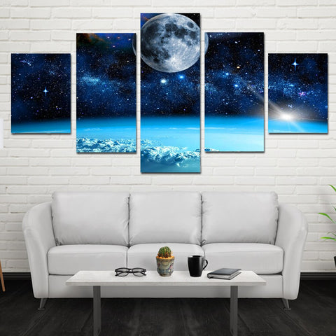 Image of Moon and Stars-5 Panel-Canvas Bros