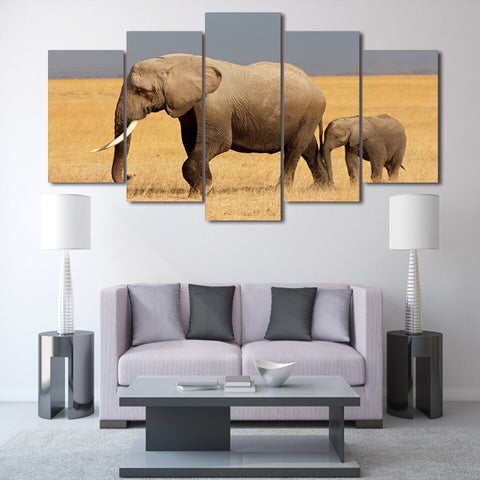 Image of Elephant Family-5 Panel-Canvas Bros
