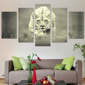 Lioness Hunt-5 Panel-Canvas Bros