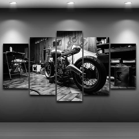 Image of B&W Motorcycle-5 Panel-Canvas Bros