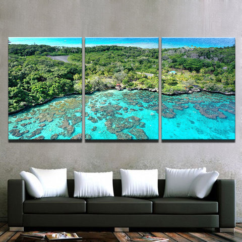 Image of Island Reef Getaway-3 Panel-Canvas Bros