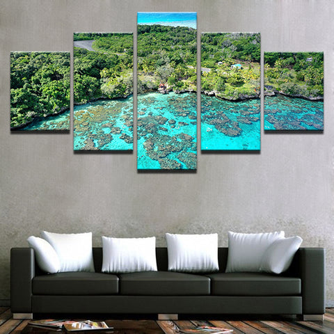 Image of Island Reef Getaway-5 Panel-Canvas Bros