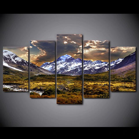 Image of Sky Ice Mountain-5 Panel-Canvas Bros