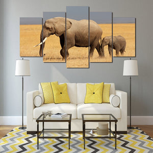 Elephant Family-5 Panel-Canvas Bros