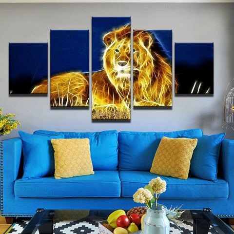 Image of Glowing Lion-5 Panel-Canvas Bros