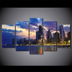 Twilight Sunset-5 Panel-Canvas Bros