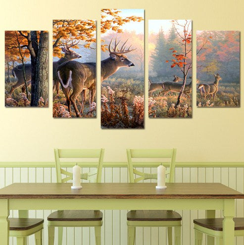 Forest Deers-5 Panel-Canvas Bros