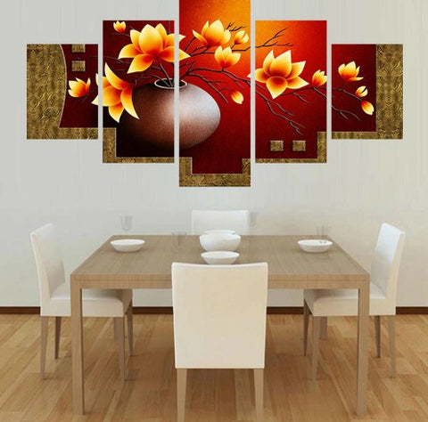 Image of Flower Outburst-5 Panel-Canvas Bros