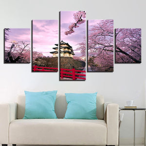 Japanese Cherry Blossom-5 Panel-Canvas Bros