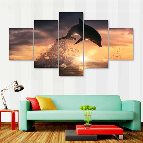 Image of Jumping Dolphin-5 Panel-Canvas Bros