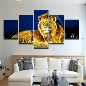 Glowing Lion-5 Panel-Canvas Bros