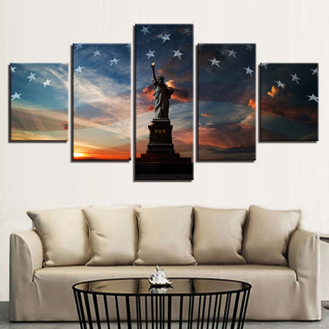 Image of Stars And Stripes-5 Panel-Canvas Bros