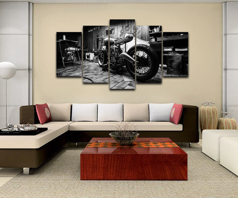 B&W Motorcycle-5 Panel-Canvas Bros