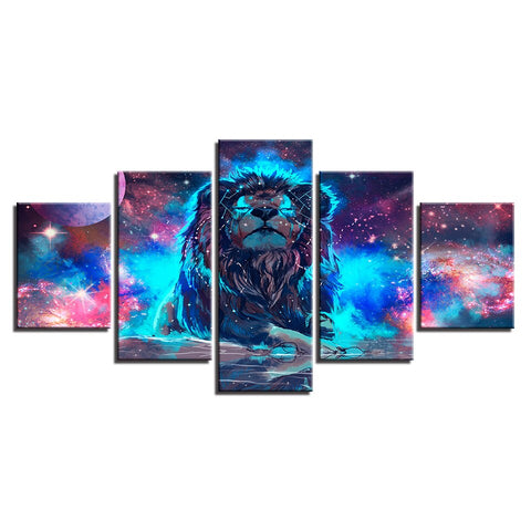Image of Abstract Constellation Lion-5 Panel-Canvas Bros