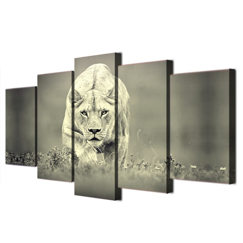 Image of Lioness Hunt-5 Panel-Canvas Bros