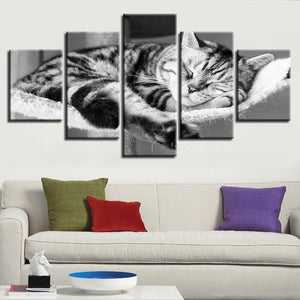 Sleeping Kitty-5 Panel-Canvas Bros