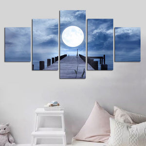 Moon Sea View-5 Panel-Canvas Bros