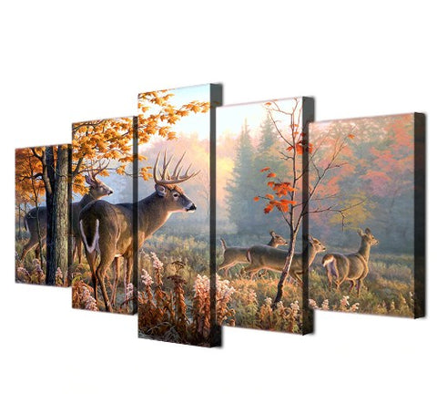 Image of Forest Deers-5 Panel-Canvas Bros