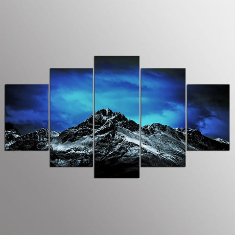 Dark Night Snowy Mountain-5 Panel-Canvas Bros