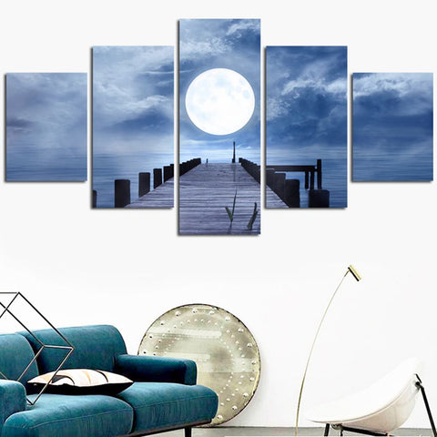 Image of Moon Sea View-5 Panel-Canvas Bros