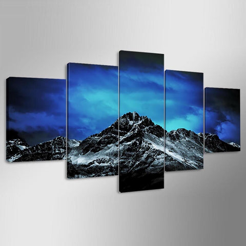 Image of Dark Night Snowy Mountain-5 Panel-Canvas Bros