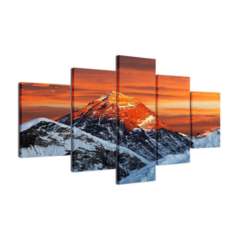 Snowy Mountain Sunset-5 Panel-Canvas Bros