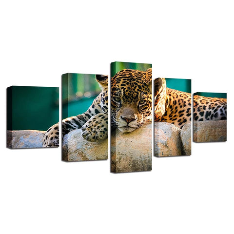 Image of Resting Leopard-5 Panel-Canvas Bros