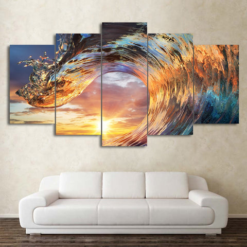 Image of Sunset Surfing Wave-5 Panel-Canvas Bros