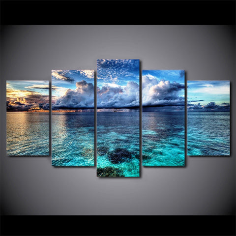 Image of Stunning Flat Sea-5 Panel-Canvas Bros