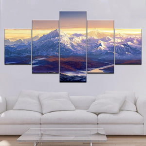 Snowy Mountains-5 Panel-Canvas Bros