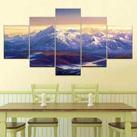 Image of Snowy Mountains-5 Panel-Canvas Bros