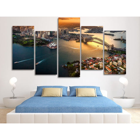 Image of Sydney Harbour-5 Panel-Canvas Bros