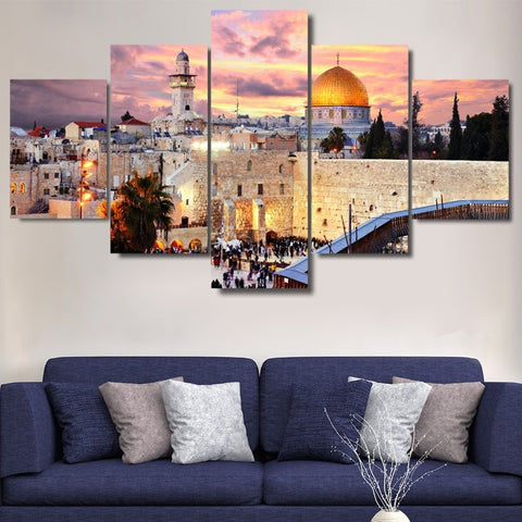 Image of Jerusalem Sunset-5 Panel-Canvas Bros