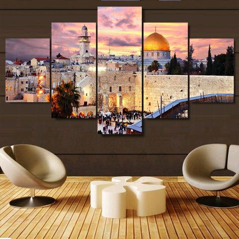 Jerusalem Sunset-5 Panel-Canvas Bros